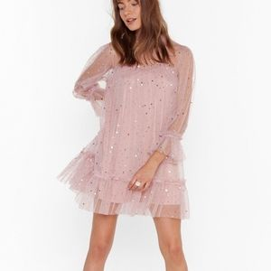 Nasty Gal- Star and wide mesh mini dress